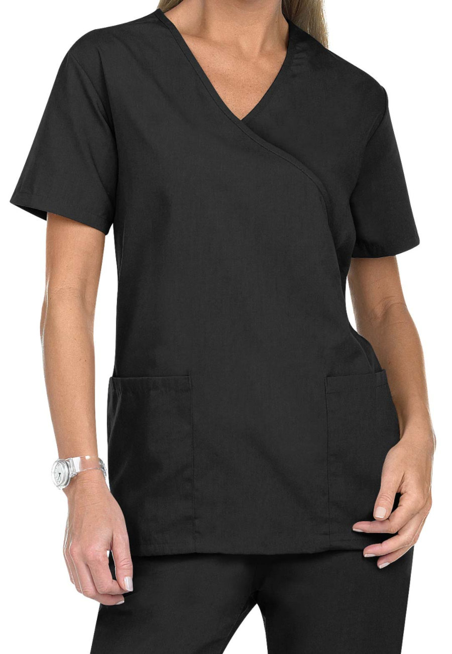 Natural Uniforms Mock Wrap Solid Two Piece Scrub Set