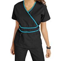 Natural Uniforms Mock-wrap Solid Two Piece Scrub Set