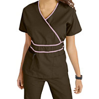 Natural Uniforms Mock-wrap Solid Two Piece Scrub Set