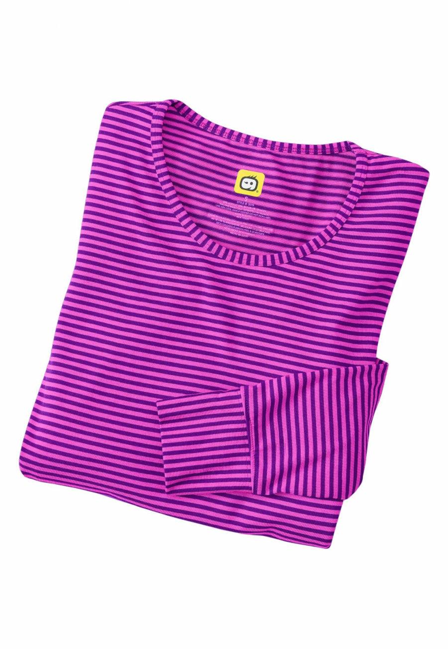 WonderWink Long Sleeve Striped Scrub Tees Violet