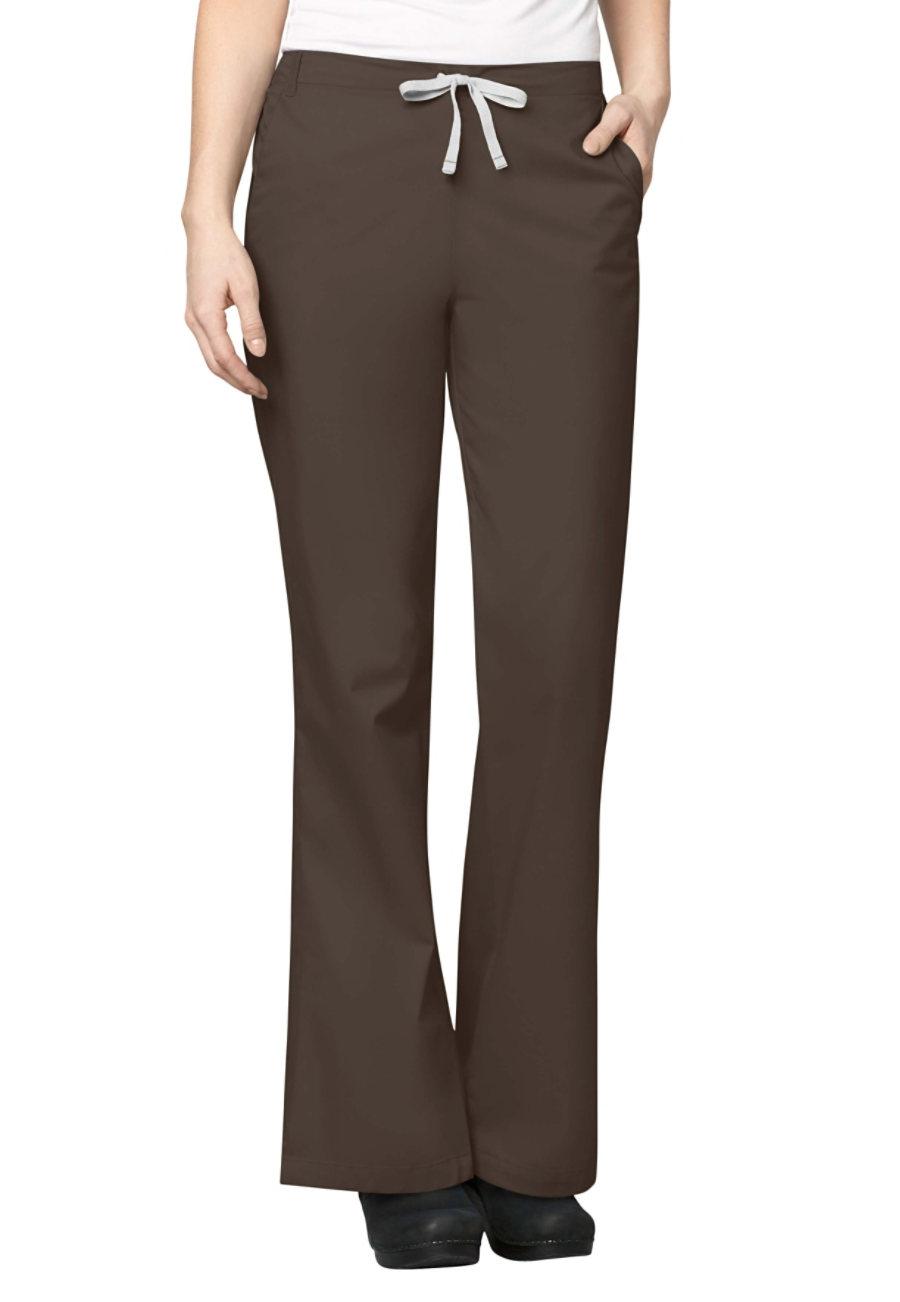 WonderWork Flare Leg Drawstring Scrub Pants - Chocolate - L
