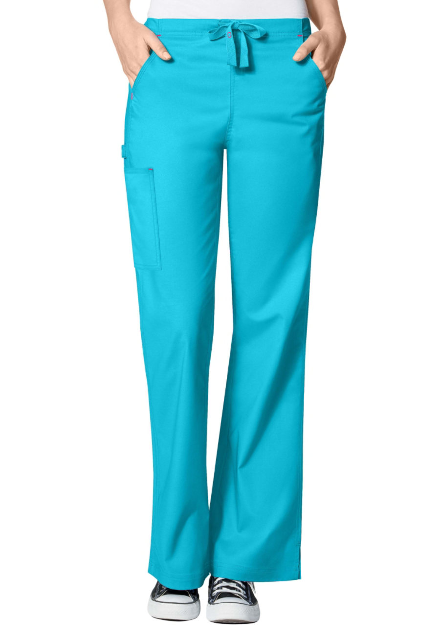 WonderFlex Grace Flare Leg Cargo Scrub Pants - Aqua - 2X plus size,  plus size fashion plus size appare