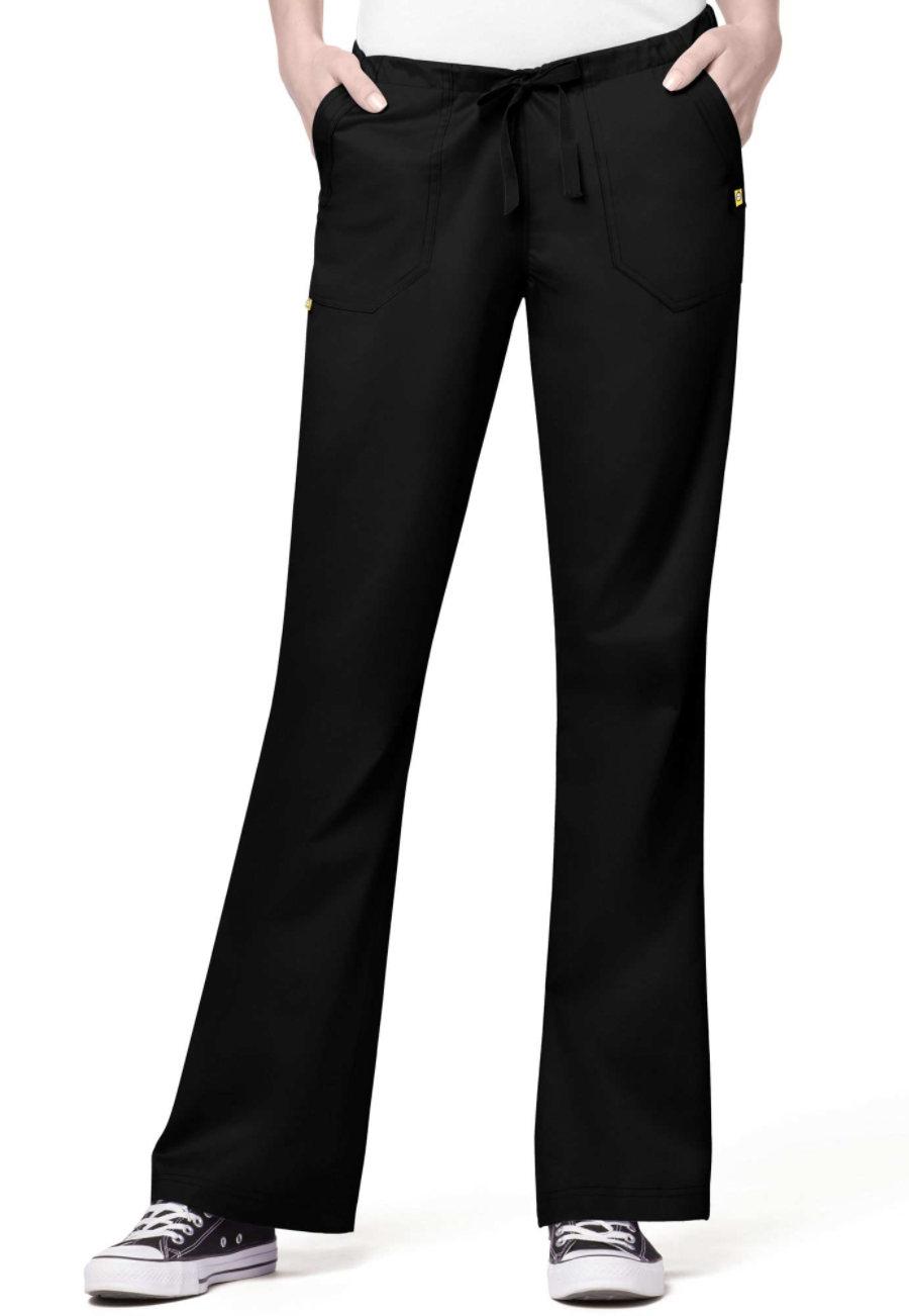 WonderWink Utility Girl Flare Leg Drawstring Scrub Pants - Black - 3X plus size,  plus size fashion plus size appare
