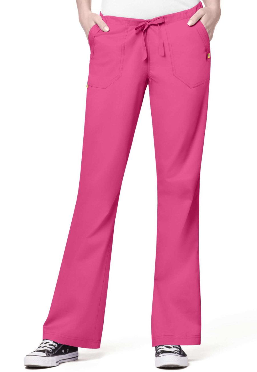 WonderWink Utility Girl Flare Leg Drawstring Scrub Pants - Hot pink - P3X plus size,  plus size fashion plus size appare