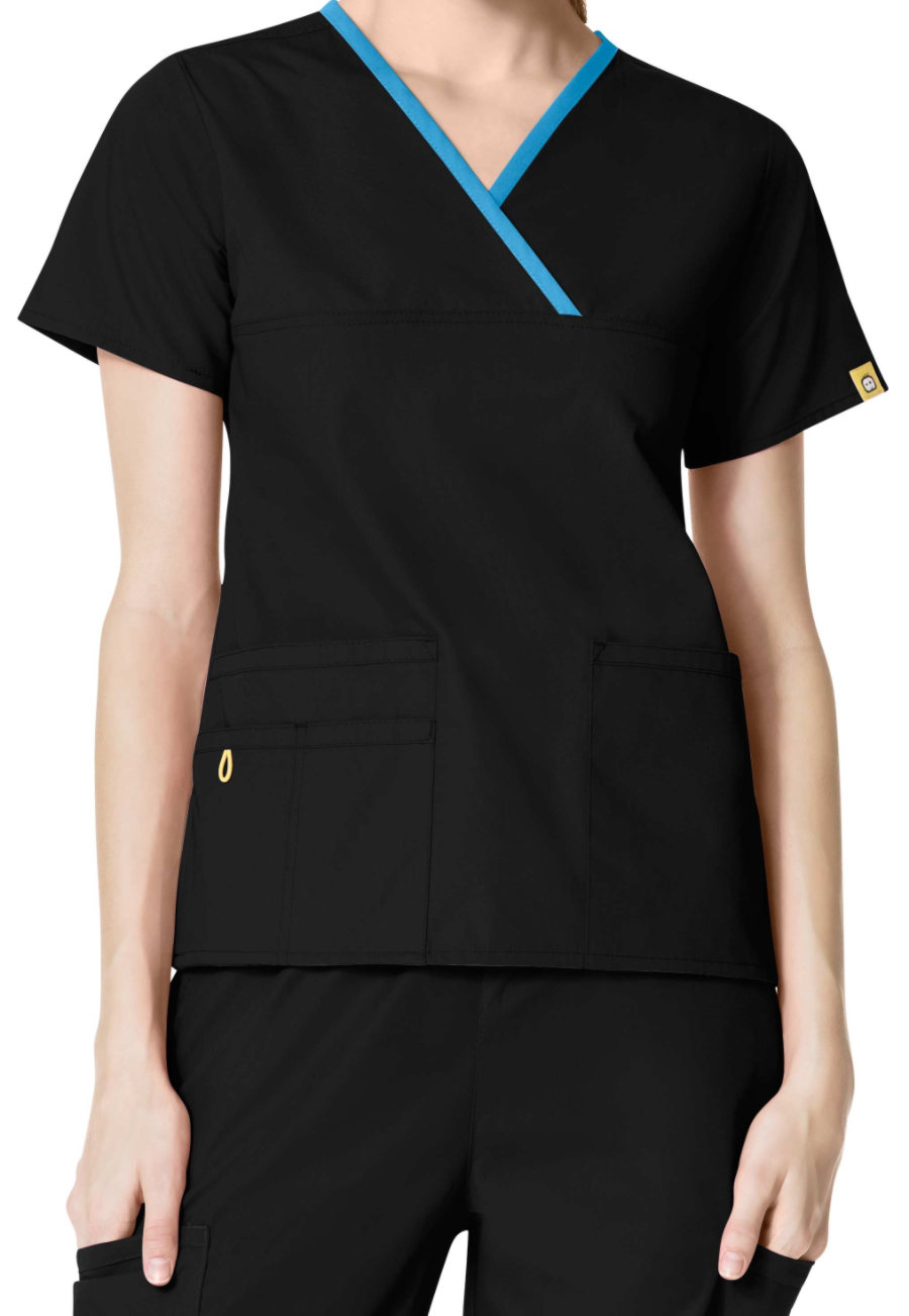 WonderWink Origins Charlie Y-neck Contrast Trim Scrub Tops - Black/ malibu blue - 2X plus size,  plus size fashion plus size appare