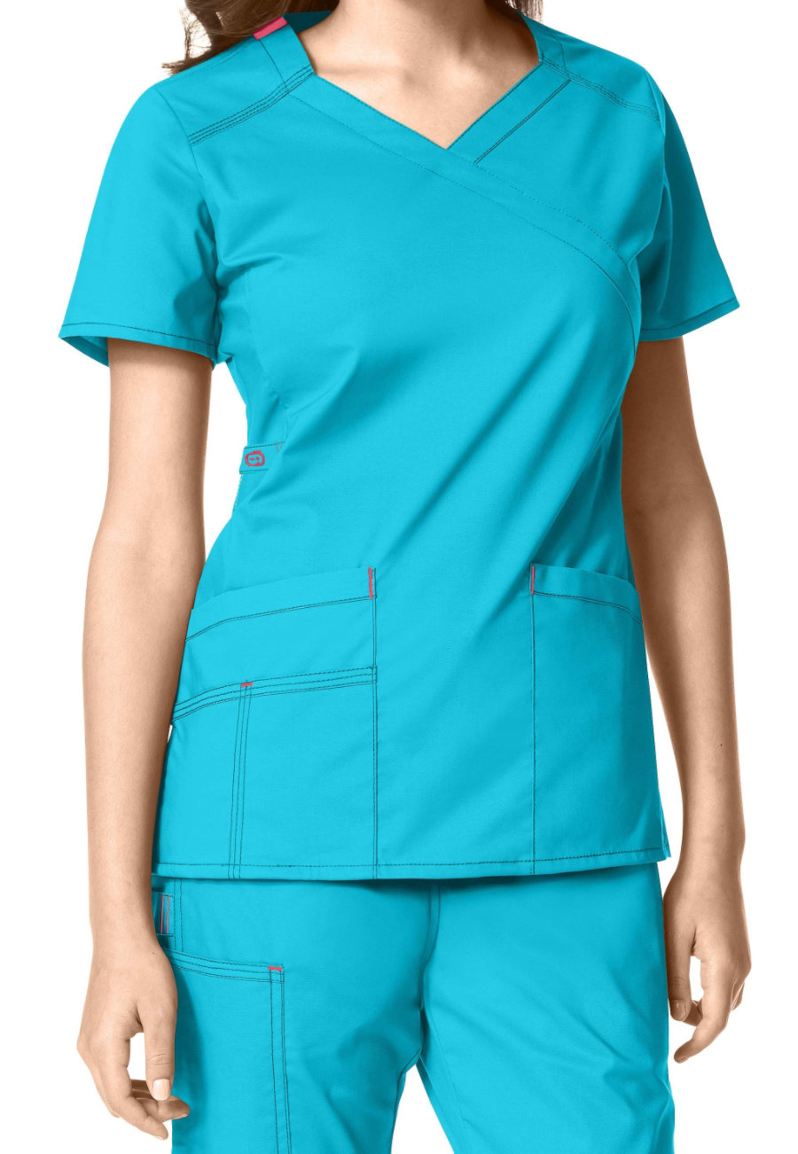 WonderFlex Charity Y-neck Scrub Tops - Aqua - 2X plus size,  plus size fashion plus size appare