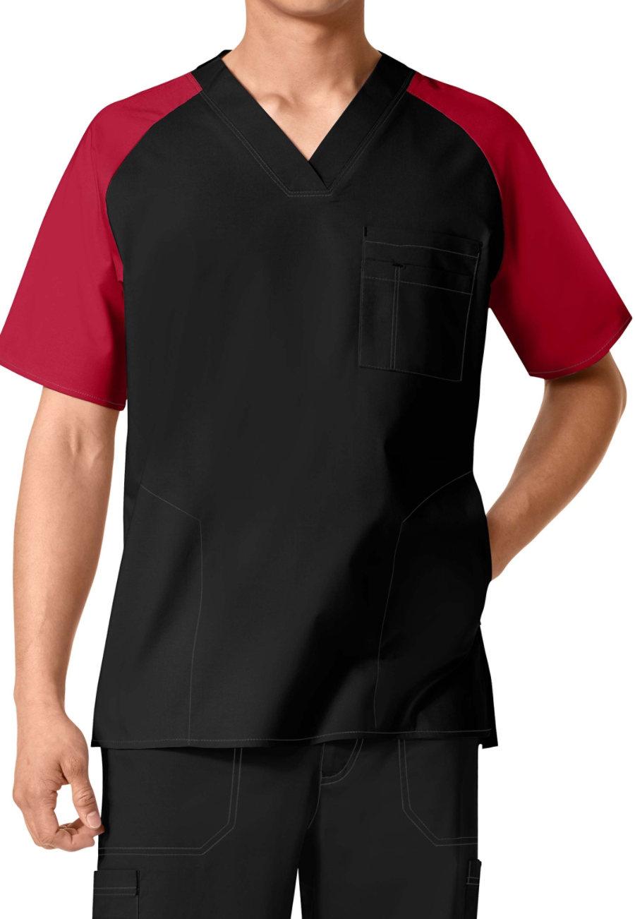 WonderFlex Men's Color Block V-neck Scrub Tops - Black/Red