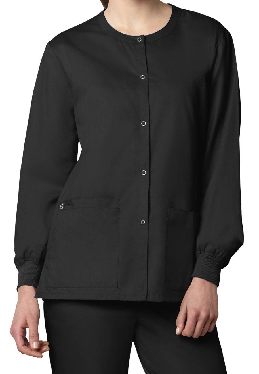 WonderWork Unisex Snap Front Scrub Jackets - Black - L