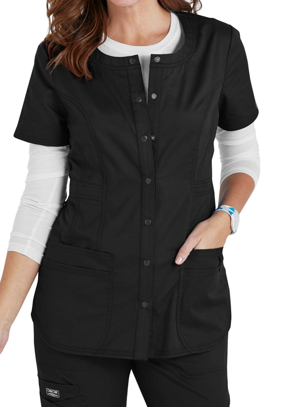 Cherokee Workwear Core Stretch Snap Front Scrub Tops