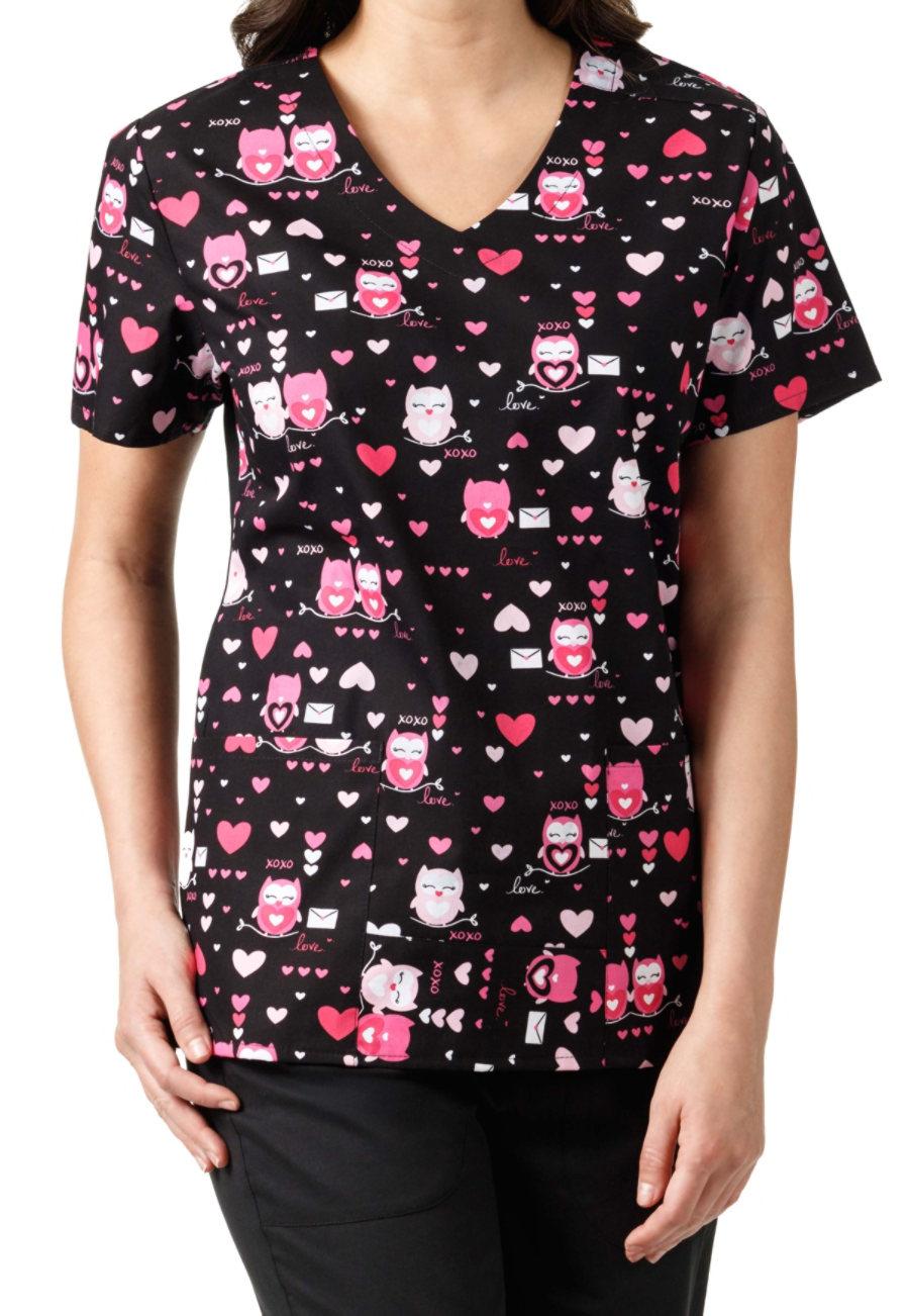 Zoe + Chloe Owl Be Yours V-neck Print Scrub Top