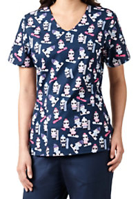 Zoe + Chloe Stay Cool V-neck Print Scrub Tops