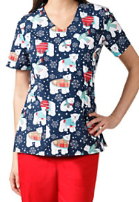 Zoe + Chloe Winter Friends V-neck Print Scrub Tops