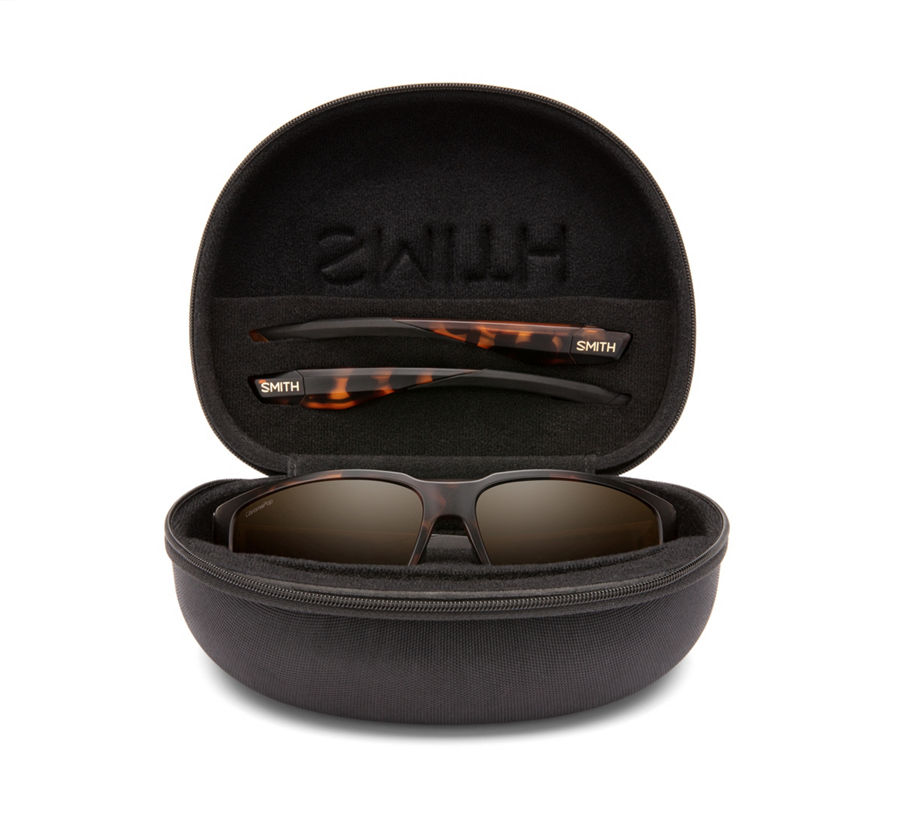 The included Freespool MAG sunglass case protects and stores spare temples
