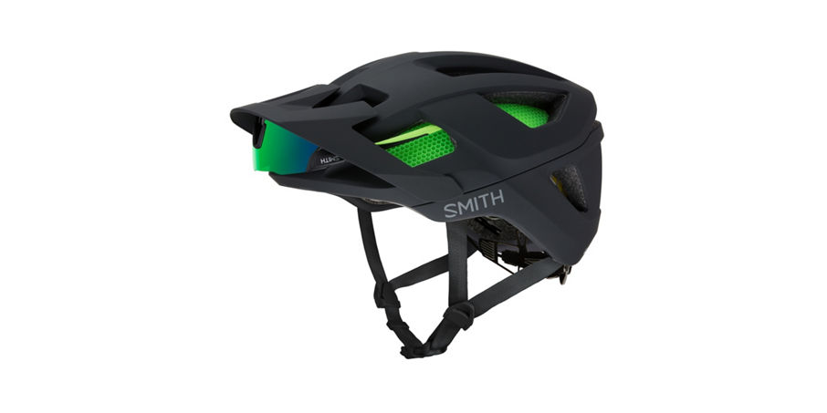Session helmet with sunglasses protected by visor