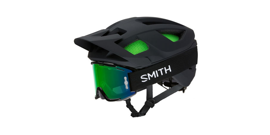 Session helmet with goggles on, visor up