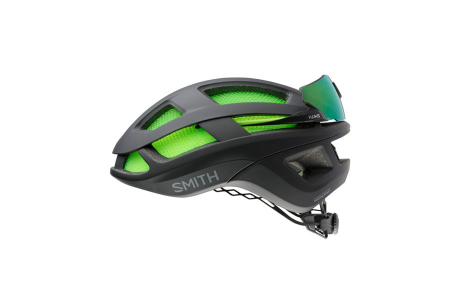 Trace helmet with Attack Max sunglasses mounted on rear