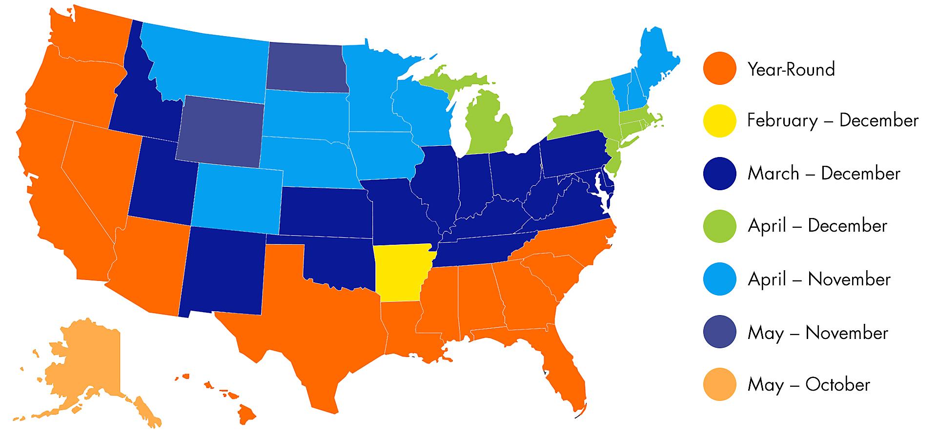 US map showing when tick and flea season occurs in each region
