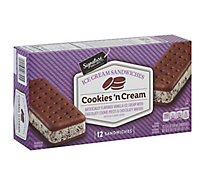 Lucerne Ice Cream Sandwiches Cookies N Cream - 12-3.5 Fl. Oz.