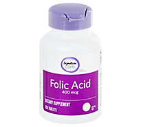 Signature Care Folic Acid 400 mcg Tablets - 250 Count