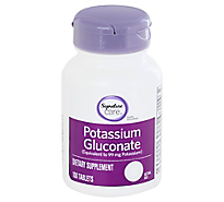 Signature Care Potassium Gluconate Caplets - 100 Count