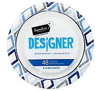 Signature Home Paper Plates Coated Designer 6.87 Inch - 48 Count