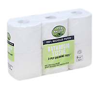 Open Nature Bathroom Tissue 100% Recycled Paper 2-Ply Chlorine Free Rolls - 6 Count