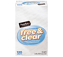 Signature Home Fabric Softener Sheets Free & Clear - 120 count
