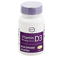 Signature Care Vitamin D3 5000 IU Softgels - 100 Count