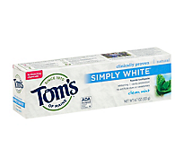 Toms of Maine Toothpaste Flouride Simply White Clean Mint - 4.7 Oz