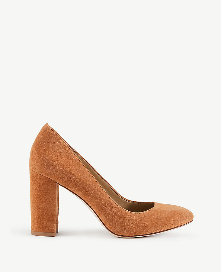 Emeline Suede Block Heel Pumps | Tuggl