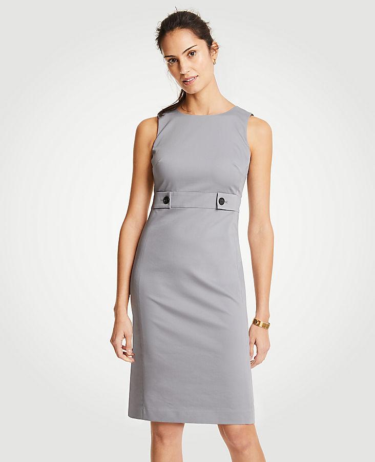 Cotton Sateen Button Tab Sheath Dress   Tuggl