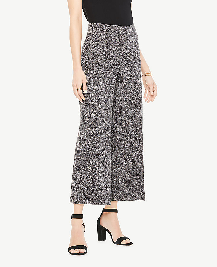 Marled Knit Wide Leg Crop Pants | Tuggl