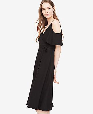 Ann Taylor Tall Cold Shoulder Faux Wrap Dress