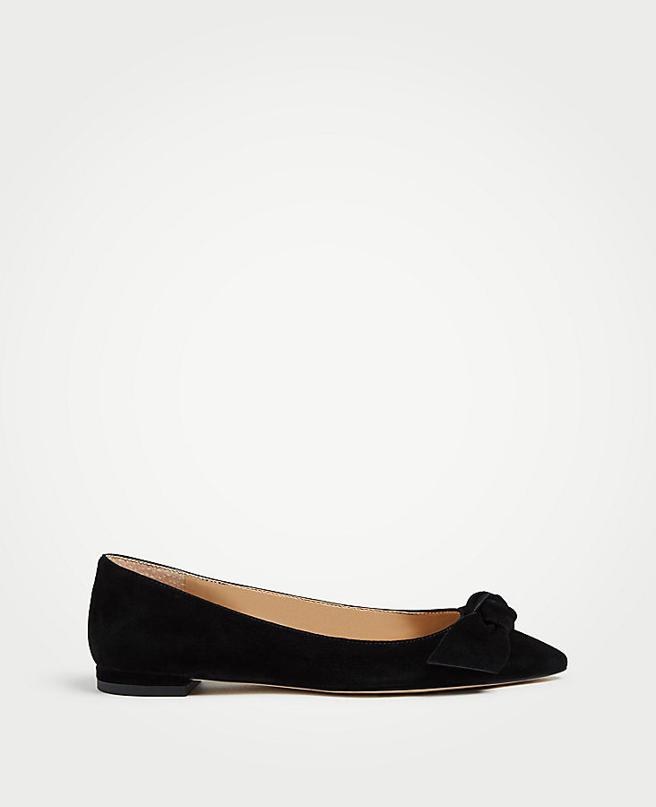 Camryn Suede Bow Flats | Tuggl