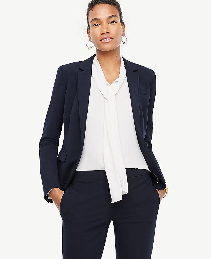 Petite Seasonless Stretch One Button Perfect Blazer
