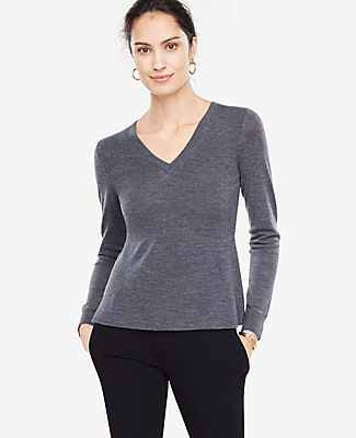 Ann Taylor V-Neck Long Sleeve Peplum Sweater
