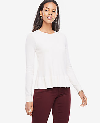 Ann Taylor Ruffle Hem Sweater 23688995