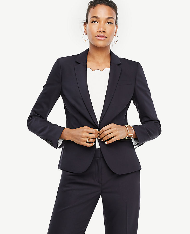 Petite Tropical Wool One Button Perfect Blazer