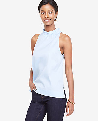 Ann Taylor Striped Bow Back High Neck Top
