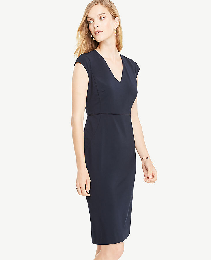 Petite Seasonless Stretch Cap Sleeve Sheath Dress