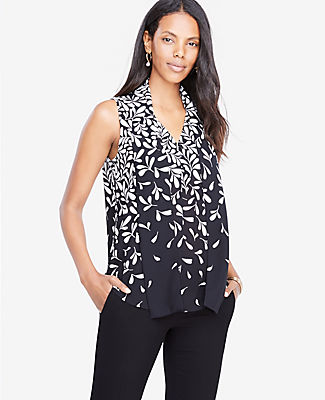 Ann Taylor Petite Falling Leaves Tie Neck Button Shell