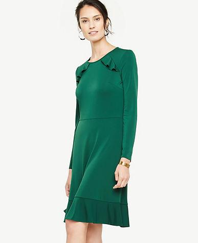Knit Ruffle Flare Dress