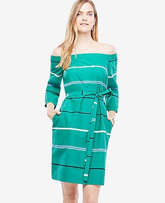 Ann Taylor Petite Off The Shoulder Striped Poplin Dress