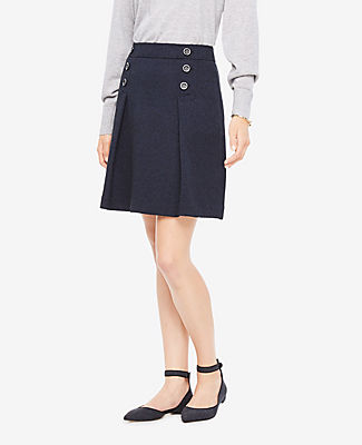 Ann Taylor Petite Tweed Button Skirt
