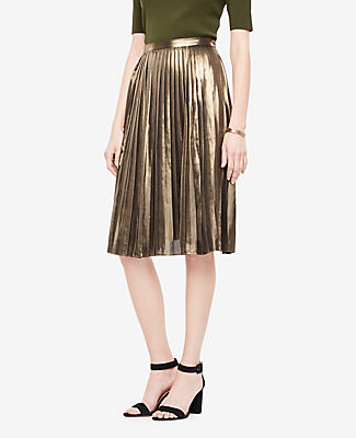 Ann Taylor Tall Metallic Pleated Skirt