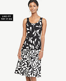 Ann Taylor Petite Falling Leaves Flare Dress