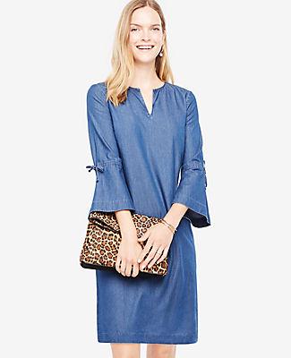 b4202ad8bc7 Ann Taylor Petite Chambray Bell Sleeve Dress