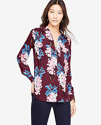 Ann Taylor Petite Pretty Petals Camp Shirt