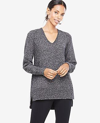Ann Taylor Marled V-Neck Tunic Sweater