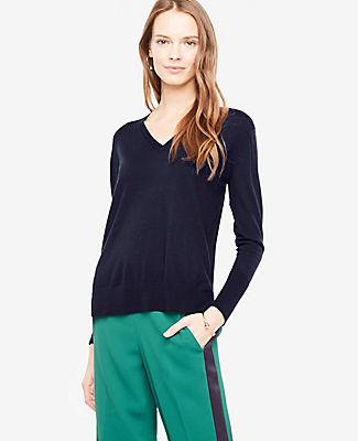 Ann Taylor Petite Extrafine Merino Wool V-Neck Sweater